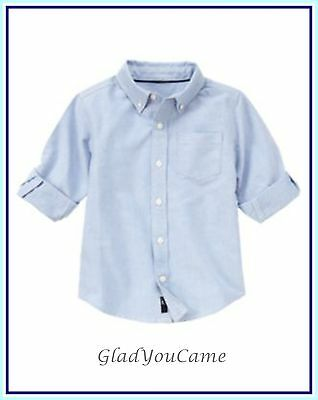 NWT Gymboree sz S (5-6) Spring Spy Guys Button up Long Sleeve Blue Dress Shirt