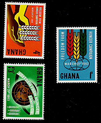 "Ghana    Scott# 132-134     Mnh    ""fao Freedom From Hunger"" Campagn"