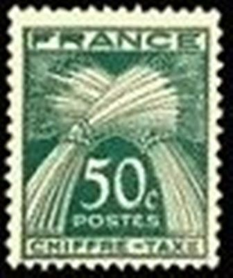 "FRANCE STAMP TIMBRE TAXE N° 69 "" TYPE GERBES 50c VERT "" NEUF x TB"