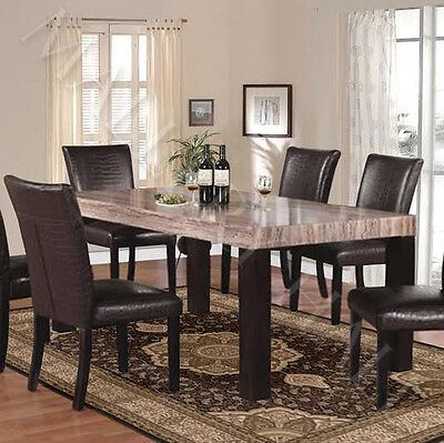 7 Piece Faux-Marble Rectangle Dining Table Set Six Leather Chairs Brown