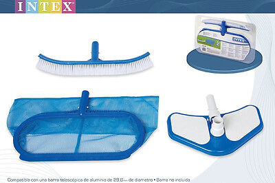 Genuine Intex Swimming Pool Accessory Kit Leaf Rake, Vacuum head and Brush