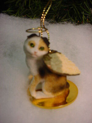 SCOTTISH FOLD kitty Tortoise White CAT ANGEL Ornament Figurine kitten Christmas
