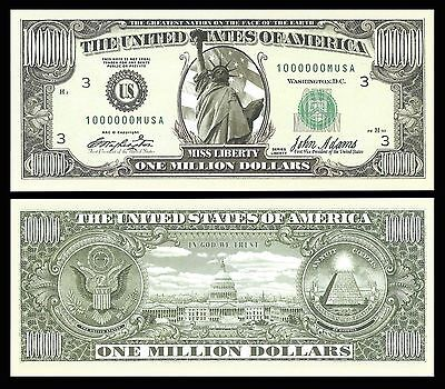 Realistic $1,000,000 Million Dollar Bill Statue Of Liberty Novelty
