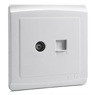White TV Aerial and Computer Network Lan RJ45 Socket Wall Panel Outlet 86mmx86mm