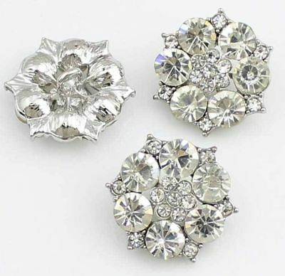 6Pcs Clear Rhinestone Diamante Silver Tone Flower Shank Buttons Sewing Crafts