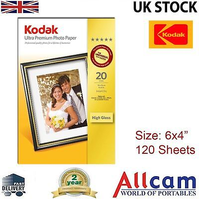 "6 Pack: Kodak Glossy Photo Paper 6x4"" 280gsm for All Inket Printers (120 sheets)"
