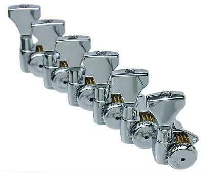 Hipshot OPEN GEAR Grip-Lock Staggered-Post Guitar Tuners 6-in-line Chrome w/ UMP