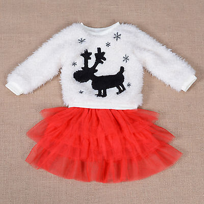 New Fluffy Ivory Jumper and Red Tulle Skirt Set 3-4 Years