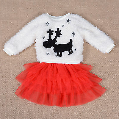 New Fluffy Ivory Jumper and Red Tulle Skirt Set 4-5 Years