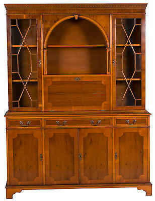 Vintage Yew Wood Antique Style Breakfront Bookcase Bookshelf Cabinet w Bar