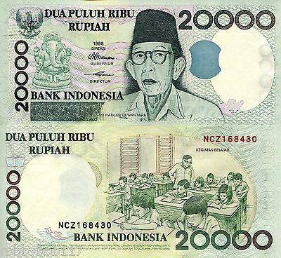INDONESIA 20000 Rupiah Banknote World Money aUN/XF Currency Asia Bill p138b Note
