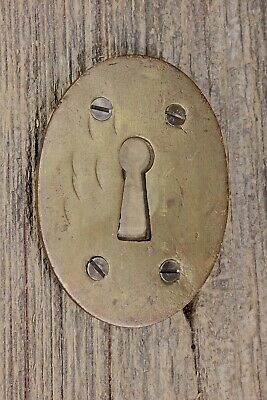 "Oval Keyhole door skeleton Lock Escutcheon LARGE old brass 2 7/8"" vintage 1800's"