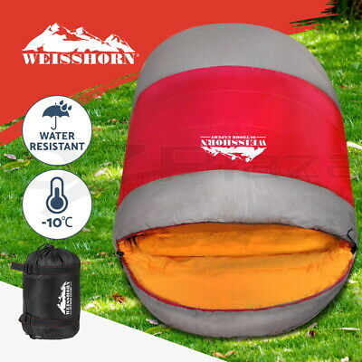WEISSHORN Camping Sleeping Bag -15°C Extra Large Hiking Carry Bag 220X100CM Red