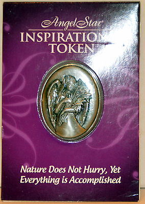 Nature Does Not Hurry Yet Accomplished  Angel Pocket Token Pewter Inspiring NIP