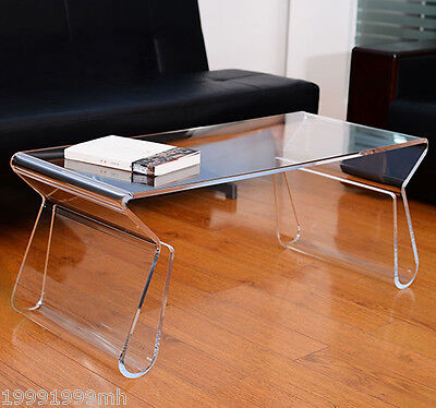 HOMCOM Transparent Acrylic Coffee End Table with Magazine Paper Rack Office Home