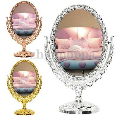 Dual Sided Vanity Make Up Cosmetic Table Bathroom Mirror Gold Silver Bronze Uk