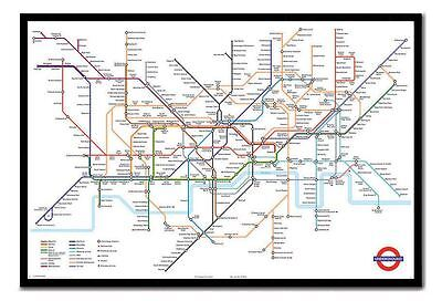 Vintage London Underground Tube Map  Giant 1 Piece  Wall Art Poster V114