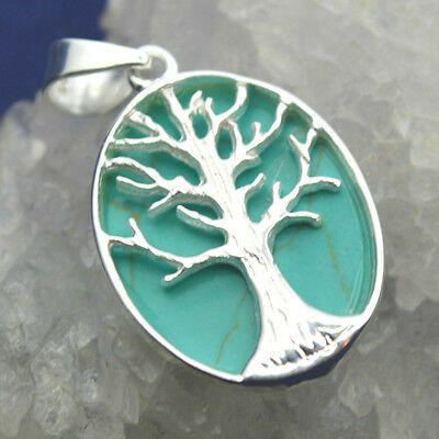 Turquoise Howlite 925 Silver Reversible Tree of Life Pendant~Pagan Jewellery