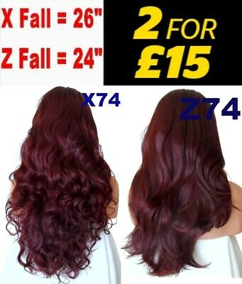 DARK RED Natural Long Curly Layered Half Wig Hair Piece 3/4 Wig Fall Clip in