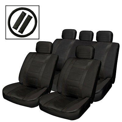 14Pc Universal Black Heavy Wear Leather Look Car Seat Covers Air Bag Friendly