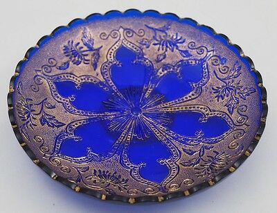 EAPG Northwood Verre D'or  Beaded Star and Mums - Blue and Gold Sweet Meat