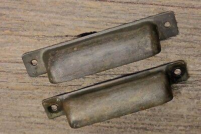 2 Drawer Pulls handles printer type cabinet storage vintage rustic old brass