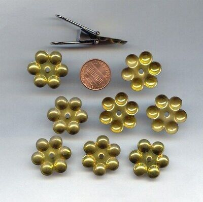 6 VINTAGE PATINA BRASS FLOWER 22mm ROUND CENTER HOLE 6 CUP SETTING FINDINGS 1614