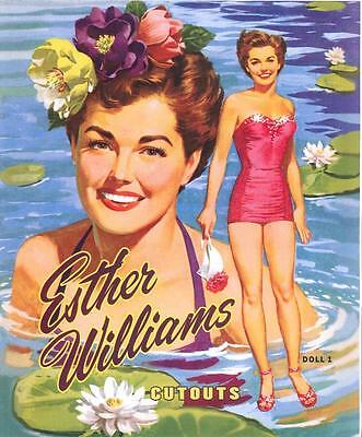 Vintge 1953 Esther Williams Paper Doll ~Pretty Laser Reproduction~Org Size Uncut