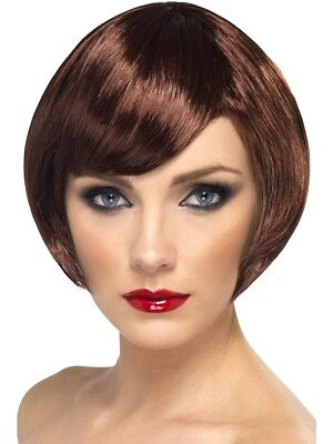 Adults Babe Wig Short Brown Bob Ladies Party Fancy Dress Accessory New