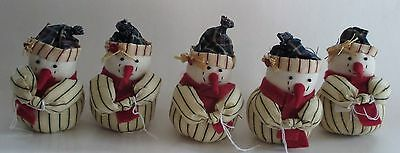 lot 5 ROLY POLY SNOWMAN cute chubby BOX e Christmas country