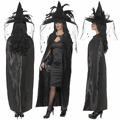 Black Deluxe Witches Cape Ladies Fancy Dress Halloween Adults Costume Cloak