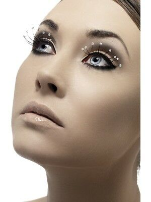 False Eyelashes With Droplets Black Ladies Fancy Dress Accessory