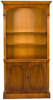 Yew Wood Antique Style Vintage Tall Arched Bookcase Glass Shelves Cabinet Doors
