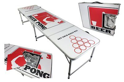 New 8' Aluminum Beer Pong Table Ice Bag Cooler Folding Tailgate Drinking Game #4