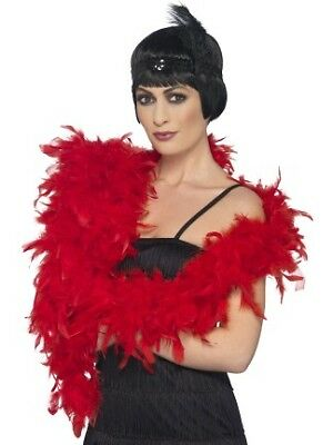 180cm Long Feather Boa Red Rocky Horror Style Deluxe 80g Boa