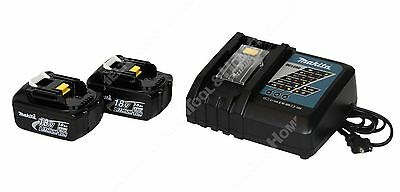 Makita DC18RC Lithium-Ion Charger and Two 18V BL1830 Lithium-Ion Batteries New