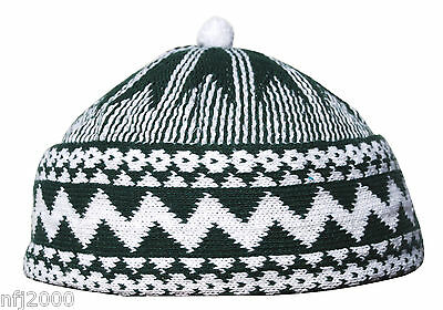 Warm Army Green Cotton Blend Zigzag Beanie Kufi Hat w/ White Ball One-size Mens
