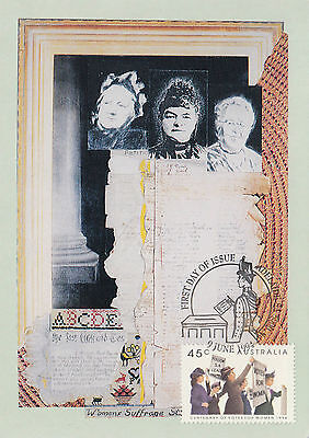 Stamp Australia 1994 Women's Suffrage & vote on maximum card, popular