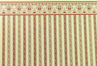 Dolls House Miniature Print 1:12 Scale Red Cream Regency Stripe Wallpaper