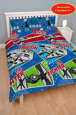 New Star Wars Movie Double Duvet Quilt Cover Bedding Set Boys Kids Fans Bedroom