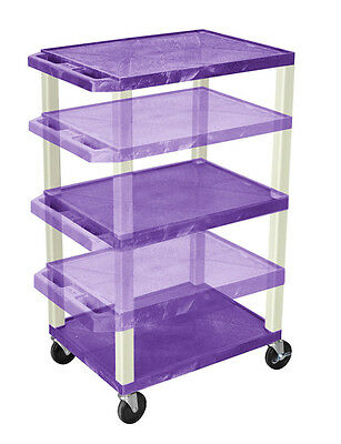 Offex WT1642PE - Adjustable Height Tuffy A/V Cart Three Shelves Putty Legs
