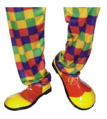 Clown Circus Shoes PVC Full Shoe Red Yellow One Size Unisex Fancy Dress Costume