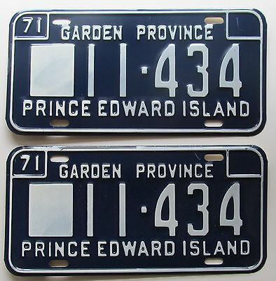 Prince Edward Island 1971 SUPERB QUALITY License Plate PAIR # 11-434