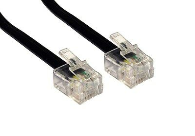1m Metre RJ11 To RJ11 Cable Lead 4 Pin ADSL  Router Modem Phone 6p4c BLACK Short