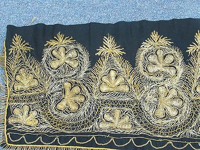 "19th OTTOMAN EMBROIDERED LONG BORDER PANEL GOLD THREAD ISLAMIC TEXTILE 10"" X 98"""