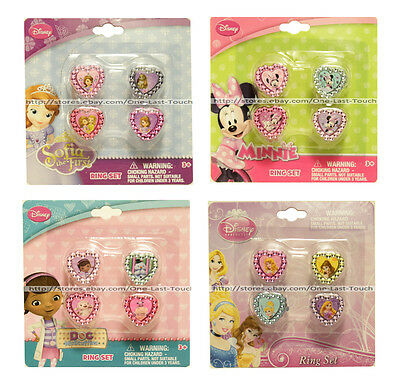 *H.E.R. ACCESSORIES 4pc Ring Set DISNEY Jewelry For Kids GIRLS New!*YOU CHOOSE*