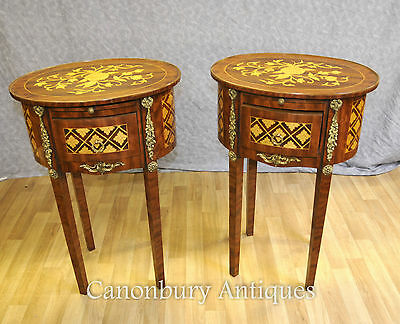 Pair French Empire Side Tables Nightstands Bedside Chests Parquetry