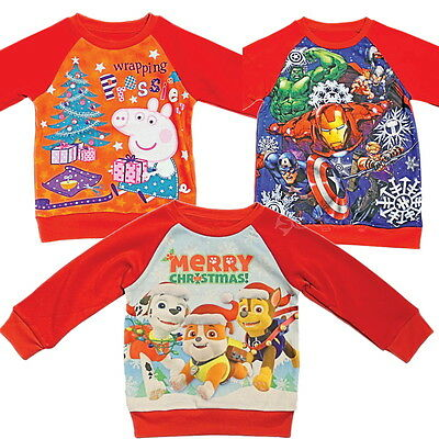 Official Childrens Paw Patrol Minions Peppa Christmas Jumpers 2-12 Yr Boys Girls