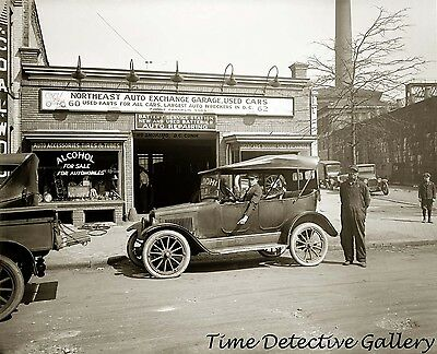 Vintage Auto and Car Repair Garage / Dealer - circa 1920 - Historic Photo Print