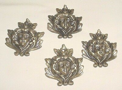 Antq Bronze 4 Decorative Art Nouveau Female Masks Furniture Appliques France